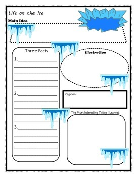 Life on the Ice Story Map Graphic Organizer