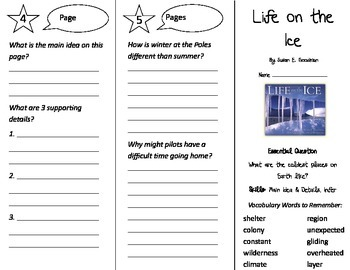 Life on the Ice Trifold - Journeys 3rd Grade Unit 4 Week 5 (2014, 2017)