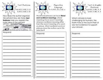 Life on the Ice tri-fold/ 3rd Grade Journeys HMH Common Core