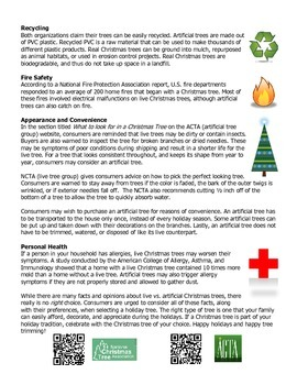 Live or Artificial Christmas Tree? Reading Passage and Questions