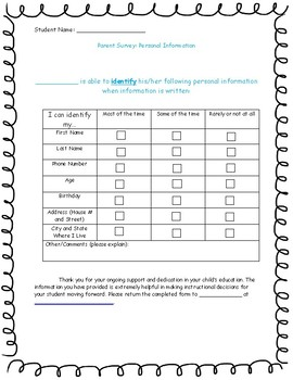 Life skills: Parent Survey (Personal Information)