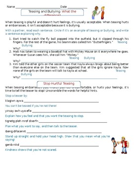 Life skills/Social skills: Teasing and Bullying What's the difference?