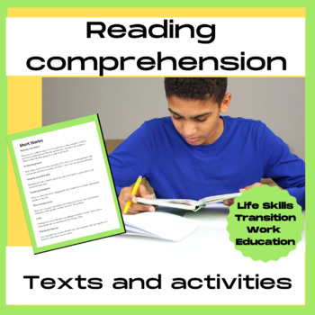 Life skills reading comprehension texts and real life photo prompts