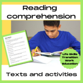 Life skills reading comprehension pack - texts, printables, task cards, photos