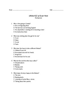 Lifeboat 12 by Susan Hood reading quiz