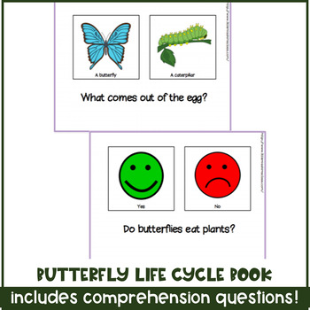 Life Cycle of a Butterfly Adapted / Interactive Book for Special Needs