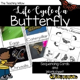 Lifecycle of a Butterfly Sequencing Cards and Worksheet