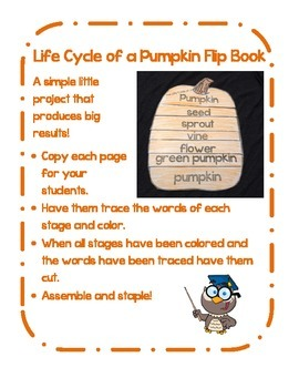 Lifecycle of a Pumpkin Flipbook : Easy as 1,2,3...