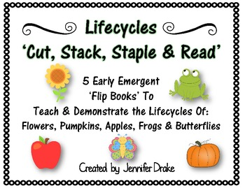 Lifecycles 'Cut, Stack, Staple, Read' Early Emergent Flip Books ~Set of 5~