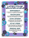 Lifelong Guidelines Poster: Purple, Teal and Animal print