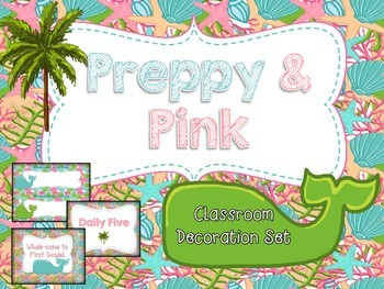 Preppy & Pink Whales Classroom Decoration Set