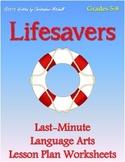 Lifesavers: Last Minute Language Arts Lesson Plan Worksheets for Grades 5-8