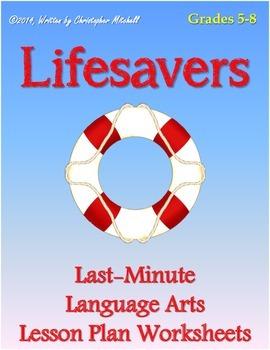 Lifesavers: Last Minute Language Arts Lesson Plan Workshee