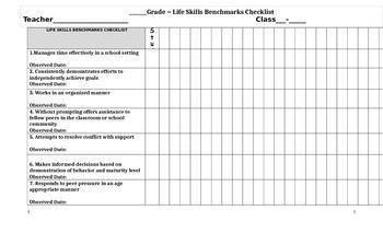 Lifeskills Benchmark Checklist