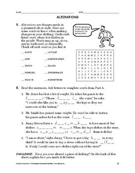 Lifeskills Vocabulary: Alterations