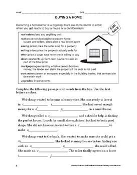 Lifeskills Vocabulary: Buying a Home