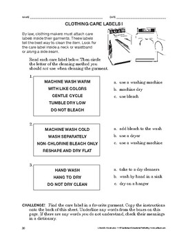 Lifeskills Vocabulary: Clothing Care Labels 1