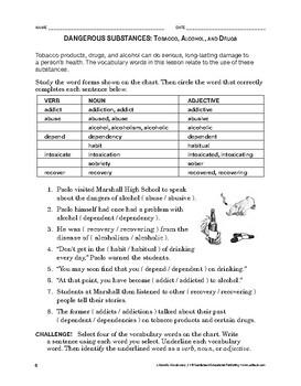 Lifeskills Vocabulary: Dangerous Substances: Tobacco, Alcohol, and Drugs