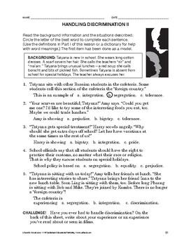 Lifeskills Vocabulary: Handling Discrimination 2