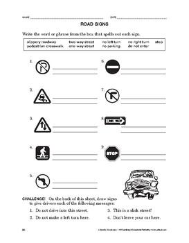 Lifeskills Vocabulary: Road Signs