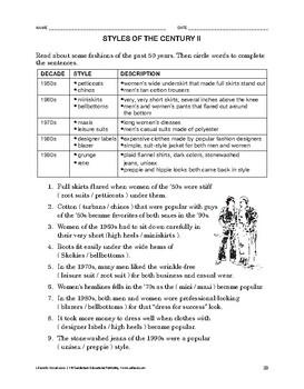 Lifeskills Vocabulary: Styles of the Century 2
