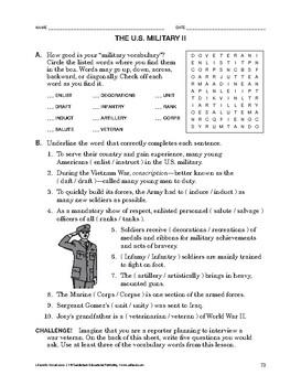Lifeskills Vocabulary: The U.S. Military 2