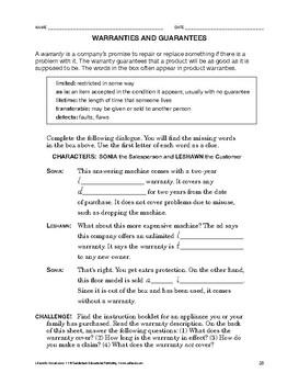 Lifeskills Vocabulary: Warranties and Guarantees