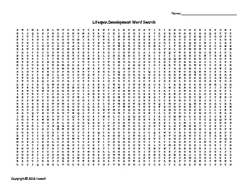 Lifespan Development Vocabulary Word Search for Psychology