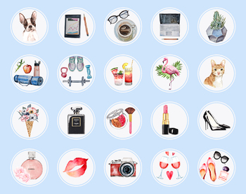 Lifestyle Instagram Story Highlight Icons Set, Watercolor Instagram Covers