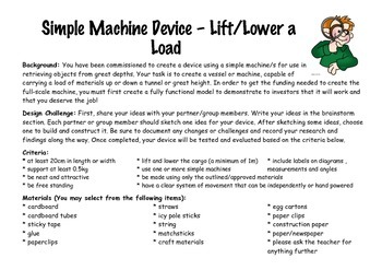 Lift A Load - Technology Construction Task