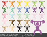 Lifting Weights Digital Clipart, Lifting Weights Graphics,