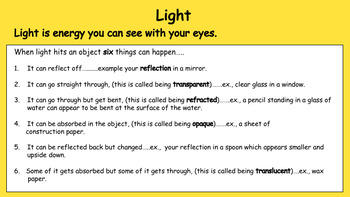 Light (20 PowerPoint Activities and Printables for Gr 3-4