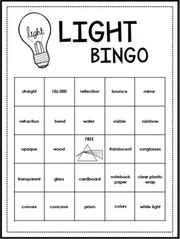 Light Energy Review Activity - Bingo