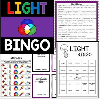 Light Energy Review Activities