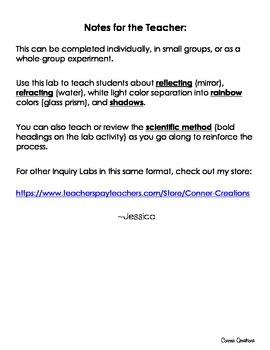 Light Behavior Inquiry Lab (Experiment)