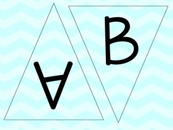 Light Blue, Aqua Chevron Letters - Chevron Pennants - Chevron Word Wall