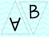 Light Blue, Aqua Chevron Letters - Chevron Pennants - Chev