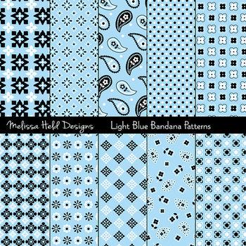 Bandana Patterns: Light Blue
