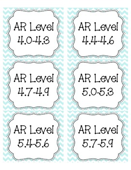 Light Blue Chevron AR Book Bin Labels