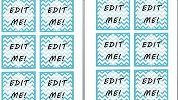 Light Blue Chevron Pattern Labels [EDITABLE TEXT]
