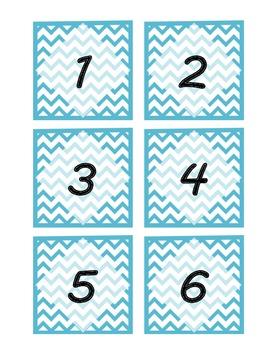 Light Blue Chevron Pattern Mail Labels/ Number Labels
