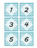 Light Blue Chevron Pattern Mail Labels/ Number Labels