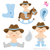 Light Blue Cowboy Baby Cute Digital Clipart, Cowboy Graphics