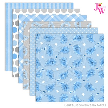 Light Blue Cowboy Matching Digital Papers, Blue Papers, Western