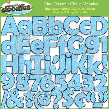 Light Blue Crayon Alphabet