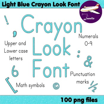 Alphabet Clip Art Light Blue Crayon Look + Numerals, Punctuation & Math Symbols