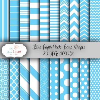 Light Blue Digital Paper Pack - Basic Shapes