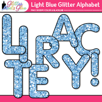 Light Blue Glitter Alphabet Clip Art {Great for Classroom Decor & Resources}