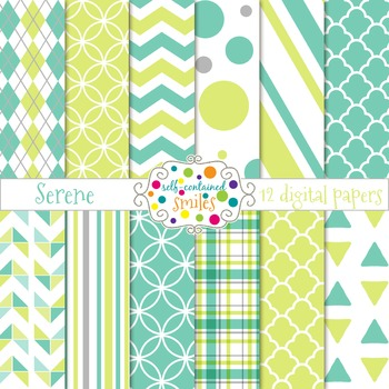 Light Blue, Green, & Gray Digital Papers