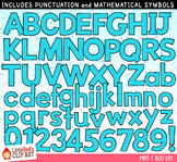 Light Blue Letters and Numbers Clip Art